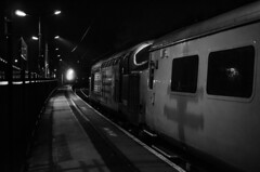 Syphon Shadows (Sweeting Thorns) Tags: class 37 syphon tractor growler ingy three english electric type 3 37603 direct rail services drs british railways kings norton railway station birmingham west midlands network test train diesel loco locomotive engine black white monochrome night nighttime prime lens