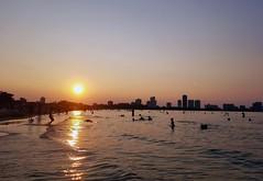 Sunset at the Beach (Ealdwine) Tags: sunset beach water lake chicago sky skyscrapers skyline