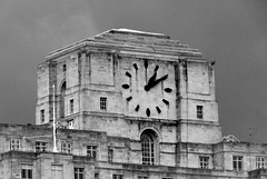The Art Deco Clock of Shell Mex House (Peter Ashton aka peamasher) Tags: london unitedkingdom uk architecture artdeco clock blackandwhite monochrome grayscale