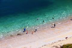 Little People (Tilt Shift) (Welderman63) Tags: sun summer colour color water ocean sea seaside shore scene blue yorkshire england canon 70d tilt shift tilted tiltshift people beach boat boats