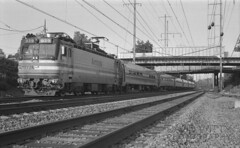 Southbound Metroliner At Bowie (DJ Witty) Tags: nikon film photography amtrak emd electriclocomotive railroad passengertrain rr aem7