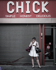 I'm sure she is (Peter Murrell) Tags: chick lady streetphotography street londonstreetphotography restaurant woman