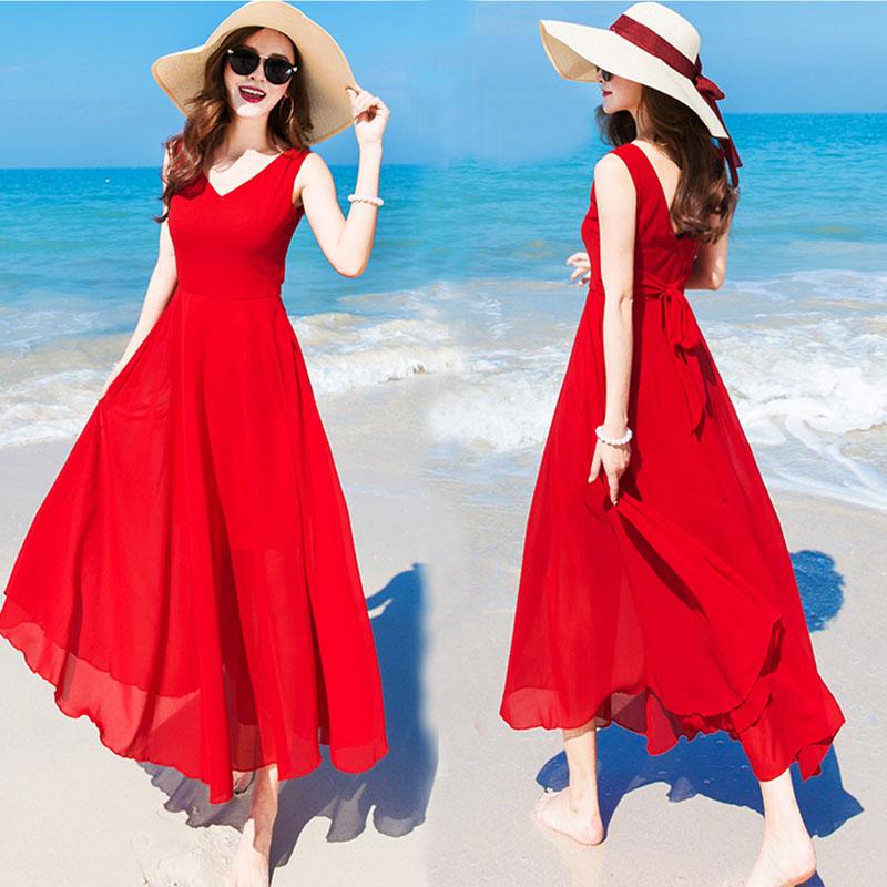 Bali Island beach dress female Xia 2018 new seaside resort Chiffon red dress Bohemia Xian long skirt