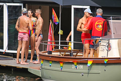 Amsterdam Pride 2018 (Netherlands) (Meteorry) Tags: europe nederland netherlands holland paysbas noordholland amsterdam centrum centre center prinsengracht amsterdampride gaypride pride gay canal gracht parade party fun happy lgbti lgbt fiesta fête freedom august 2018 meteorry people feet pieds swimwear guy male hommes lifeguard baywatch boat bateau
