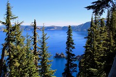 Phantom Ship island in sight (daveynin) Tags: island lake crater craterlake blue sky clear marlena silhouette pinetree volcanic