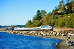 Amtrak Along the Shore (MikeArmstrong) Tags: amtrak cascades f59phi puget sound steilacoom train railroad pacific northwest ocean
