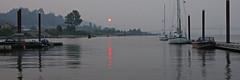 Smoky Sunset (Dave In Oregon) Tags: sunset smokysunset rainierdocksunset oregon columbiariver boats reflections rainieroregon water lewisandclarkbridge