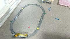 Lego PoweredUp train with a Boost colour sensor (custom software controlling it)