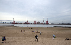 On New Brighton beach. (sidibousaid60) Tags: beach sea rivermersey estuary newbrighton wirral uk liverpool seaforth liverpool2 containerport landscape cranes industrial