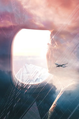 in the plane (in explore !!!) (https://tinyurl.com/jsebouvi) Tags: intheplane throughtheporthole face window cloud tower architecture glass doubleexposure art montage sky flight light top jsebouvi city building big movie