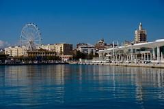 MALAGA : COSTA DEL SOL (marthinotf) Tags: malaga andalucía españa puerto paseomarítimo reflejos agua luz noria ciudaddelosmuseos
