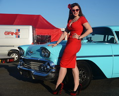 Holly_9225 (Fast an' Bulbous) Tags: classic american car chevy automobile vehicle people outdoor girl woman hot sexy red dress wiggle high heels stockings long brunette hair pinup model