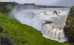 Gullfoss in rain (kaifr) Tags: waterfall watervapor overcast tourists impressive massive cloudy gullfossi southernregion iceland is