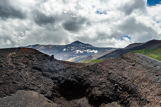 Crater on flanks of Mt Etna