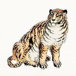 Tiger by Kōno Bairei (1844-1895). Digitally enhanced from our own original 1913 edition of Barei Gakan. thumbnail