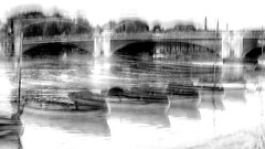 Little boats (Zara.B) Tags: intentionalcameramovement icm abstract impression river thames boats bridge bw blackandwhite iphone