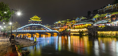 Night view of Fenghuang Ancient Town (phuong.sg@gmail.com) Tags: ancient architecture asia attraction background beautiful bridge building canal china city colorful county culture destination fenghuang historic house hunan landscape light night old oriental outdoor phoenix province reflection river romance scene scenery scenic selective soft tourism tourist town traditional travel twilight view village water