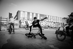 BMX Rider. (C.Preston Roberts) Tags: bmx biker bikers bmwrider blackandwhite boys men man trick skatepark london friends happy games sport stunts sk8 skater fun cool fashion streetfashion street streetstyle urban cityscape