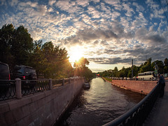 After hours (rsvatox) Tags: streetphotography trees urban sunset russia river sun water streetphotographer sky saintpetersburg boats evening city clouds