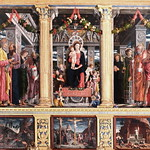 IMG_0099C Verona. San Zeno main Maggiore.Chapelle the choir. Altarpiece of the Virgin in Majesty of Andrea Mantegna (1457-1459) Predella: copies of the works removed by Napoleon's armies. (Original in the Louvre and Tours) thumbnail