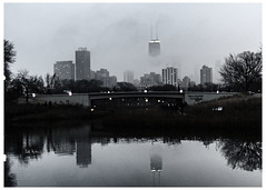 Felt That Fever Down In My Pockets (swanksalot) Tags: chicago lincolnpark pond fog hancock reflection tweeted water