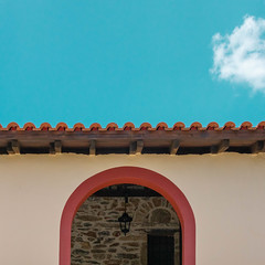 Red Arch (Erik Schepers) Tags: minimal minimalistic color architecture architect building design light shadow blue white terracotta rooftiles red greece halkidiki travel