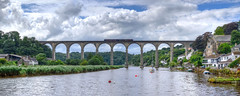 The Calstock Viaduct, River Tamar (Baz Richardson (catching up again)) Tags: cornwall devon calstockviaduct trains tamarvalleyline calstock railways bridges skies