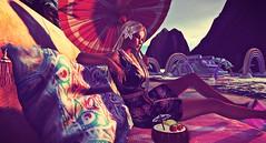 Heat Wave (Reinette Bellefleur) Tags: okinawa schadenfreude coolmint ayameame dress parasol wagasa kimono cocktail