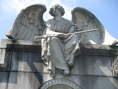 IMG_7498 (Brechtbug) Tags: roof sitting angel clutching sword above mausoleum entrance granite greenwood cemetery statue wings graveyard tomb horn tombstone crypt mausoleums angels swords seated green wood brooklyn new york city 2018 nyc located corner border ave sassafras 08122018
