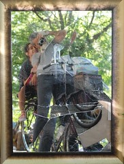 Broken-mirror (Shu-Sin) Tags: bicycle bike nyc new york city velo bici broken mirror reflection leaves child wheel self portrait