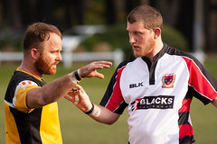 20180804_1910_1D3-400 Discussions with the referee (johnstewartnz) Tags: canon canonapsh apsh eos 1dmarkiii 100canon 1d3 1dmark3 1d 1dmkiii 1dmk3 1diii 400mm 400 rugby newbrighton nbrfc rawhitidomain