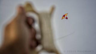 Flying kite.