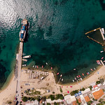 Bird's eye view of pier in Ouranoupoli, Greece thumbnail
