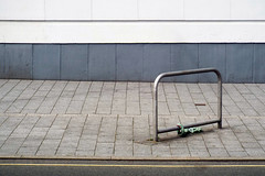 (Delay Tactics) Tags: leicester pavement sidewalk railing wall minimal abstract single yellow lines chain lock line