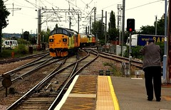 Split Boxes at Manningtree (Chris Baines) Tags: 37099 rear network rail test train manningtree going down branch harwich