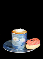 2018: Monet Water Lilies cup & saucer (dominotic) Tags: 2018 food coffee marzipanbiscuit coffeeobsession blackbackground yᑌᗰᗰy claudemonet muséemarmottanmonetcoffeecupsaucer monetwaterliliescupsaucer sydney australia