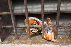 Behind Bars (Spike's Shoes) Tags: frito chip bag empty crushed behind steel bars snack snacks treat treats food fritos corn chips discarded trash environment spring horizontal outdoors outside daytime minneapolis minnesota usa c5655148 orange rusted litter foundart sliceoflife