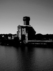 The other tower (Matteo Allochis) Tags: pisa arno reflection tower river tuscany water black