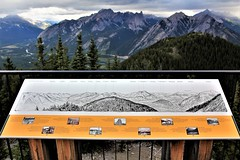 Rocky Mountains Panorama, Interpretive Sign, Sulphur Mountain Gondola, Banff National Park, Banff, Alberta, Canada (Black Diamond Images) Tags: sulphurmountain mountsulphur bowvalleyviews bowvalley bowriver banff banffnationalpark alberta canada scenictours scenic 2012 landscape mountainside forest mountain banffgondola goldola banfflookout sulphurmountainlookout rockymountainspanorama travelalberta albertatravel albertaholiday holidayalberta