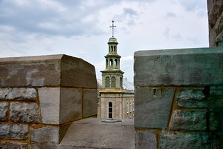 View of old church thru walls of Ramparts of Quebec city