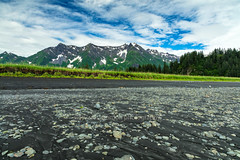 Black Sand Beach At Low Tide (chasingthelight10) Tags: events travel photography landscapes beaches glaciers glacialvalley mountains nature ocean places alaska aialikbay kenaifjordsnationalpark kenaipeninsula