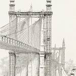 Antique illustration of the Brooklyn Bridge towers published in 1886 by Frank Leslie (1821-1880). thumbnail