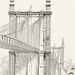 Antique illustration of the Brooklyn Bridge towers published in 1886 by Frank Leslie (1821-1880).
