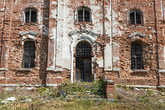 Abandoned Church. (Oleg.A) Tags: grass sunny saltykovo church nature midday orange clouds summer forest orthodox architecture cross wall ruined landscape cathedral old brick outdoor rural materials town exterior blue abandoned ryazanregion russia building green antique dome countryside field catedral landscapes noon outdoors ryazanskayaoblast ru