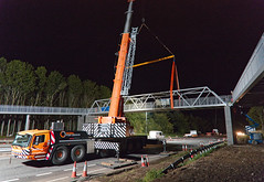 A9 Footbridge - Installing the Packers (captures.in.time) Tags: bridge road roads construction crane a9 bear trunkroad scotland footbridge civilengineering workmen steel steelwork perth transport