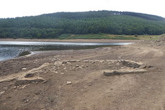 Ruins of Derwent Village, Ladybower    August 2018 (dave_attrill) Tags: derwent village ladybower reservoir ruins low water brickwork stonework site august 2018 bamford peakdistrict nationalpark derbyshire sky landscape tree mountain river