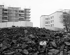 Transformation of a city - Resurgence († Nicolas Blind †) Tags: 6x7 bw canoscan9000fii hc110 hp5 ilford kodak nb pentax saintgenispouilly technique architecture black blackwhite blackandwhite blanc city destruction evolution filmisnotdead noir noirblanc noiretblanc post posttraitement postprocessing processing rebirth renaissance street traitement white