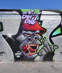Berthet One (HBA_JIJO) Tags: streetart urban graffiti paris art france hbajijo wall mur painting peinture gorilla spray gorille urbain charactere berthet berthetone doigtdhonneur
