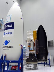 Ready for the Vega fairing (europeanspaceagency) Tags: frenchguiana kourou earthobservation earthexplorer esa europeanspaceagency space universe cosmos spacescience science spacetechnology tech technology earthfromspace observingtheearth inthecleanroom cleanroom assembly aeolus