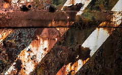 Forbidden Crossing (Junkstock) Tags: abstract abstraction barrier corrosion corroded decayed decay distressed illinois irmorg lines paint peelingpaint rust rusty rusted rustyandcrusty textures texture weathered